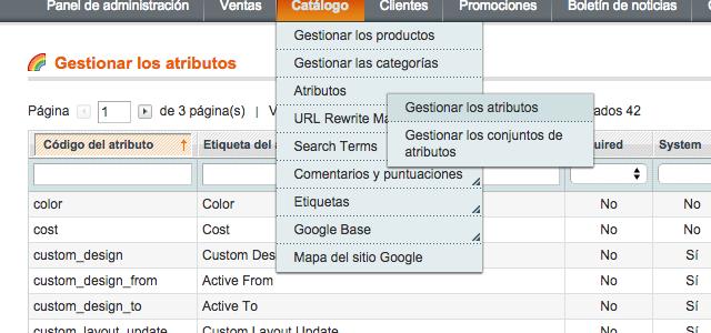 Restablecer un atributo de producto borrado en Magento e-commerce