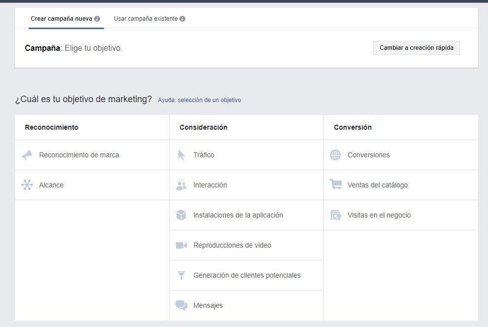 facebook ads objetivos