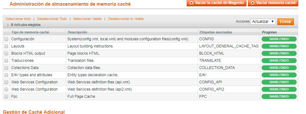el sistema general de cache de Magento