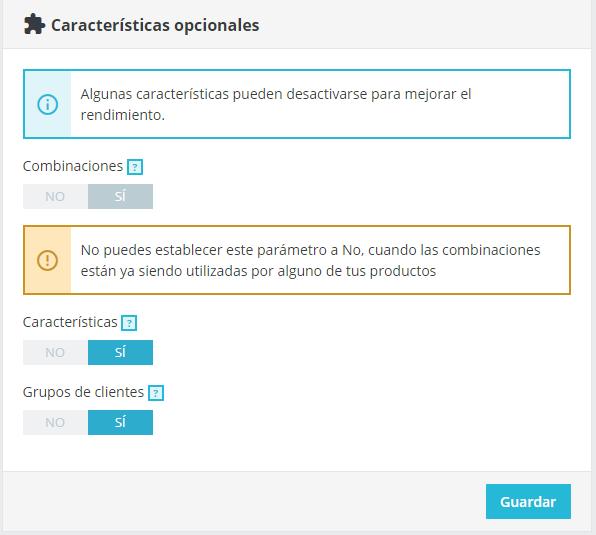 Características de e-commerce PrestaShop