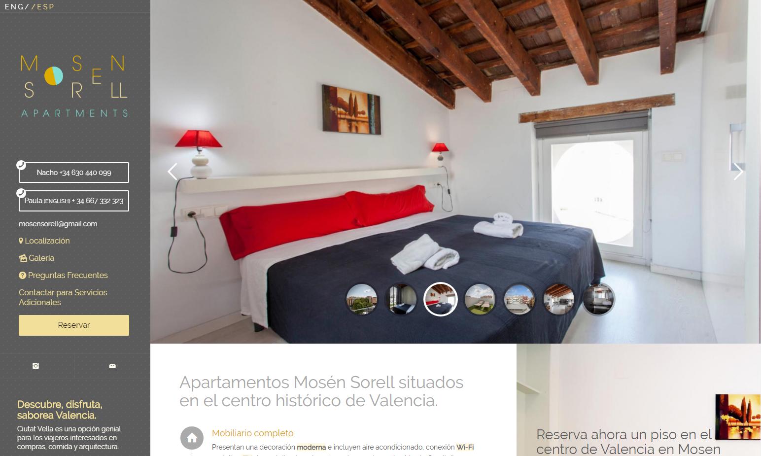 Web corporativa de apartamentos Mosén Sorell