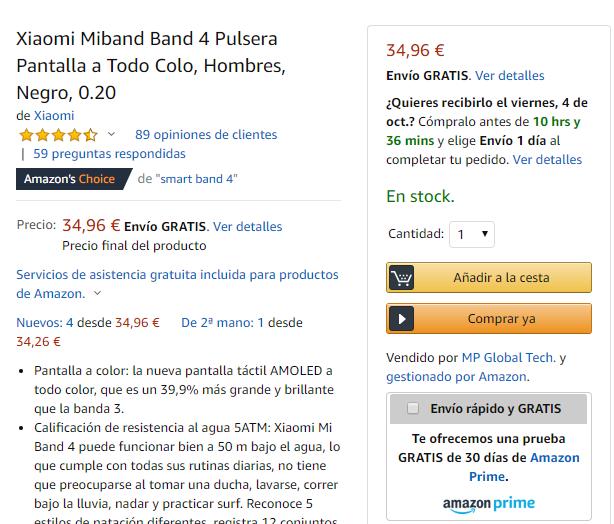 Ficha de producto Amazon