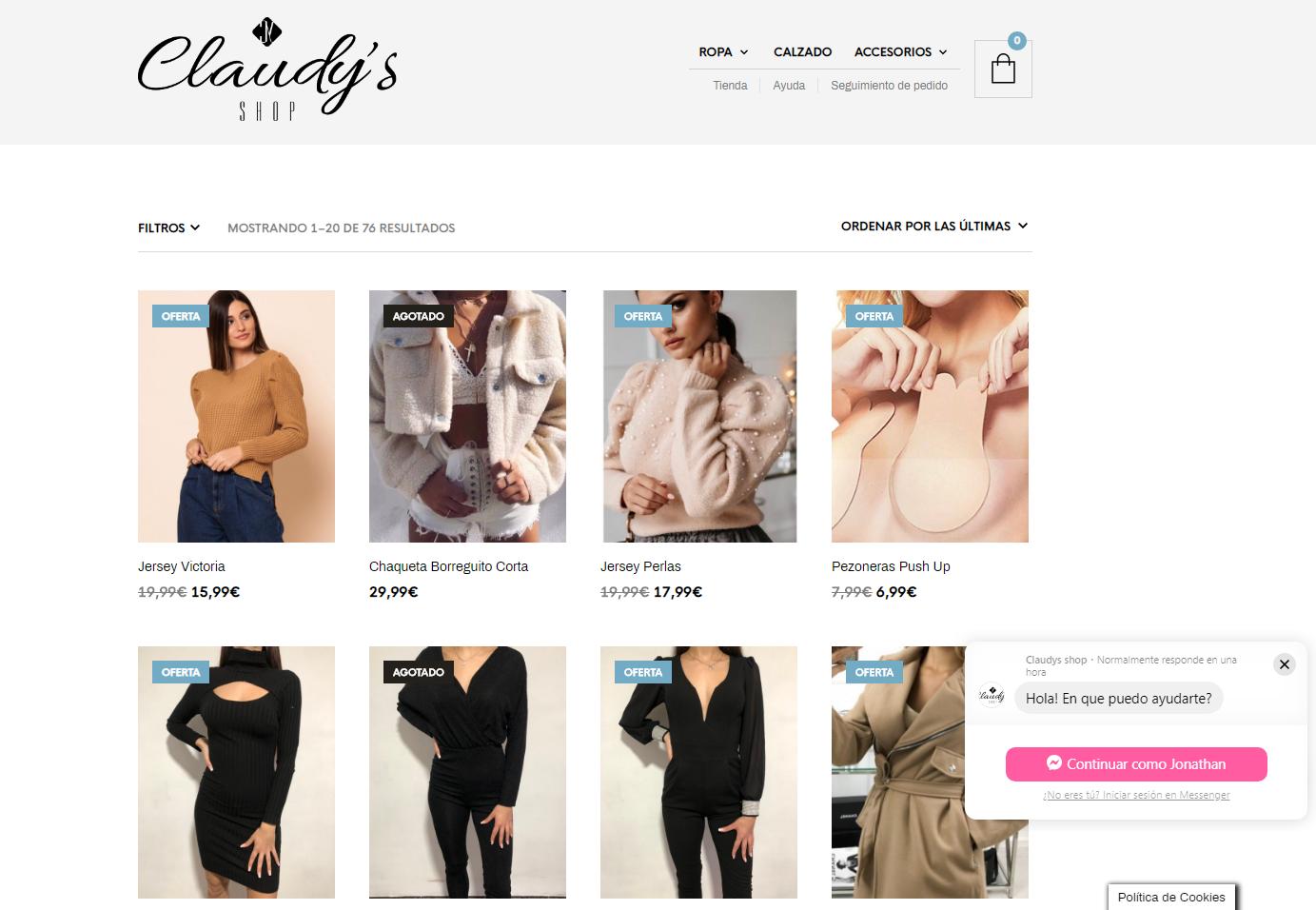 Tienda Online Claudy's Shop en WooCommerce