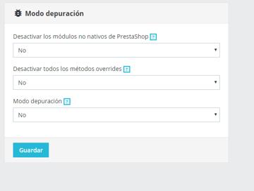 Parámetros de modo depuración PrestaShop